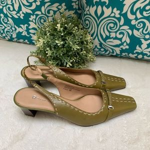Etienne Aigner E-Welsh Olive Green Leather Shoe